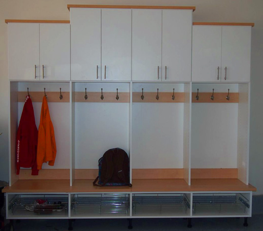 locker mudroom for storage for the garage