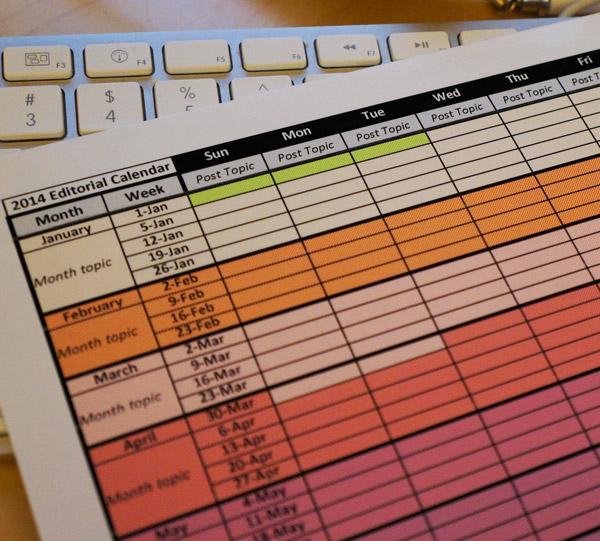 2014 editorial calendar template download FREE