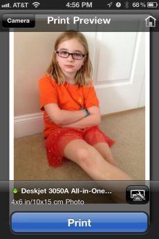 Screenprint from HP ePrint iPhone app. Sending photo directly to HP Deskjet.
