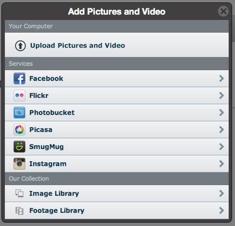 add photos & videos animoto
