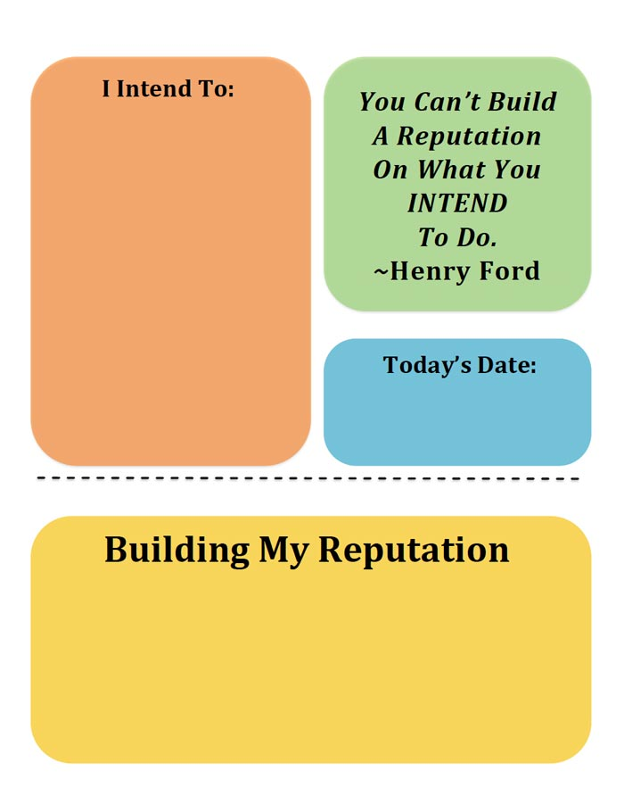 Free Printable - Building Your Reputation