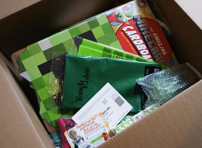 box of supplies from Creative Birthday Express