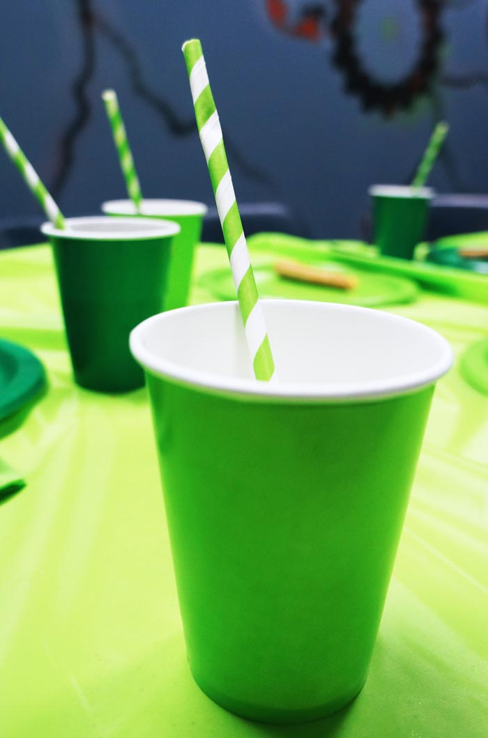 Minecraft birthday party cups and straws