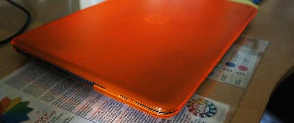 orange dress on HP sleekbook