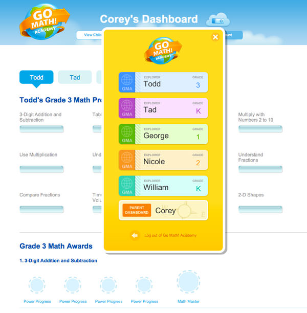 5 profiles per account on Go Math! Academy, online math help