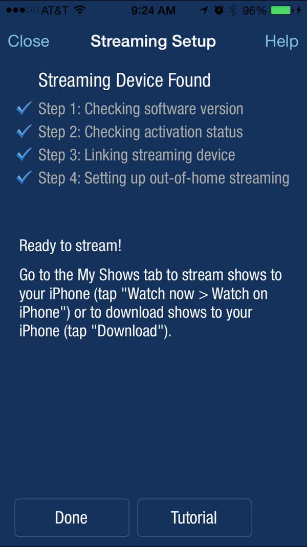 settinng up your tivo to stream on iOS