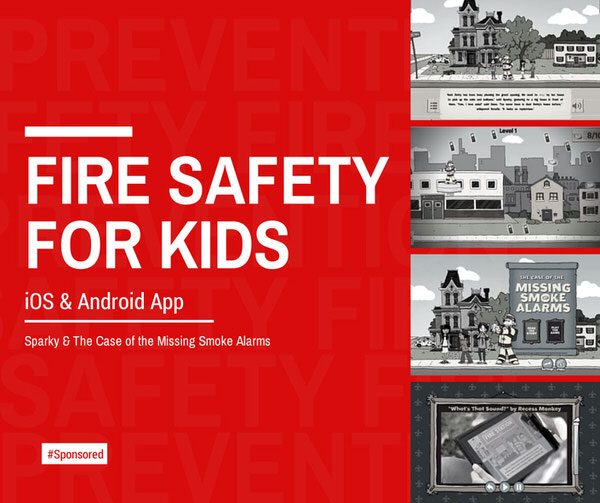 Sparky & The Case of the Missing Smoke Alarm App for iOS and Android: app for kids to learn fire safety