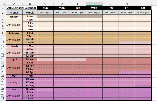 free 2015 editorial calendar template download