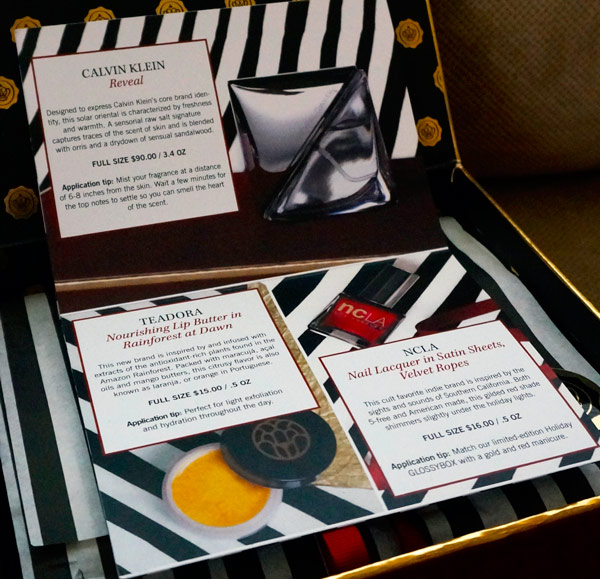 Detailed product description of products in the Glossybox