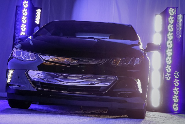 The front end of the 2016 Chevrolet Volt on display as a sneak peek Sunday, January 4, 2015 at the Consumer Electronics Show in Las Vegas, Nevada. The next-generation extended range electric vehicle will be fully unveiled on January 12 at the North American International Auto Show in Detroit. (Photo by Isaac Brekken for Chevrolet)