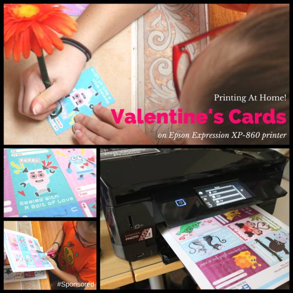 Need last minute Valentine's Day cards for your child to take to school? Print them at home. I'll show you how I printed them with the Epson Expression XP-860 Small-in-One All-in-One printer. #Sponsored