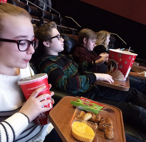 My kids at a movie over the holidays.