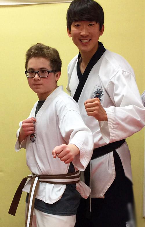 Nicky at Brown Strip Taekwondo testing.