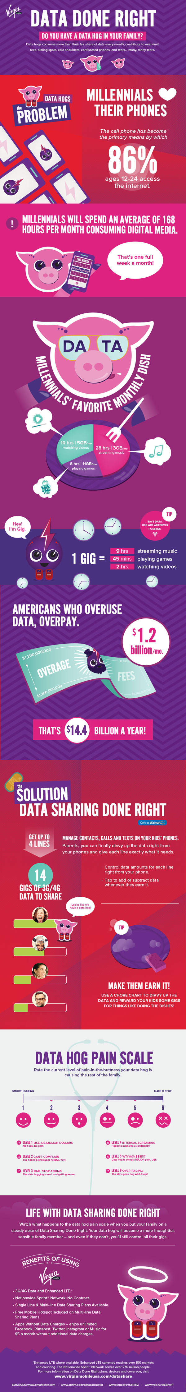 Virgin Mobile Data Hog Infographic #sprintmom #datadoneright