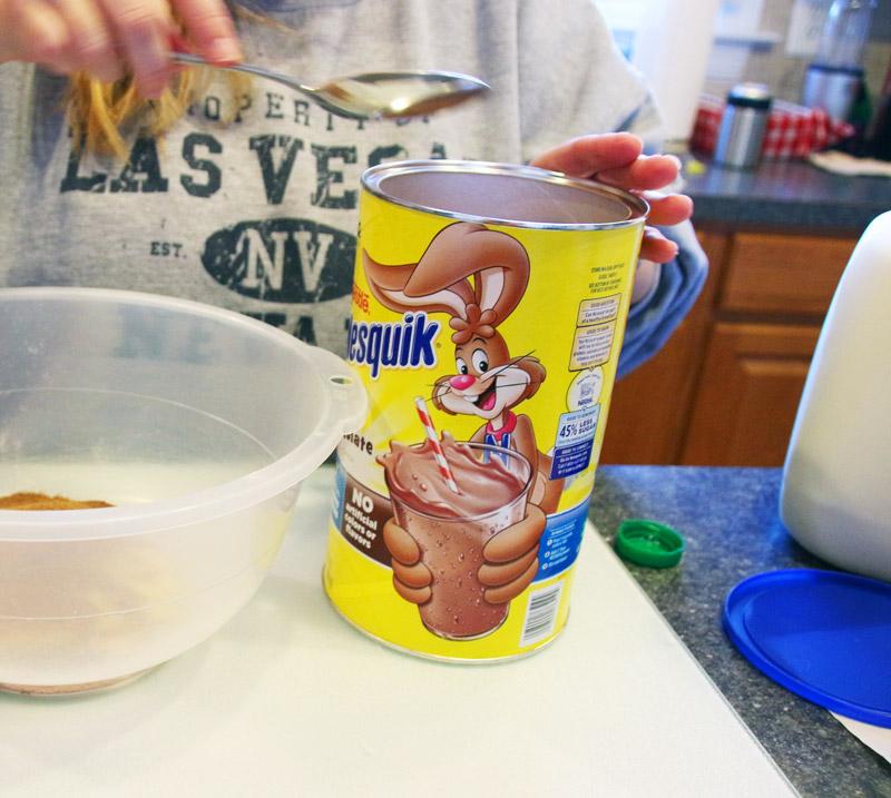 Adding Nesquick to chocolate cake mix