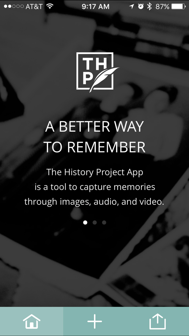 The History Project app for iPhone.