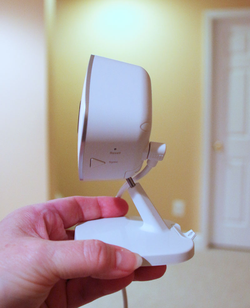 Side view of the Arlo Q home security camera