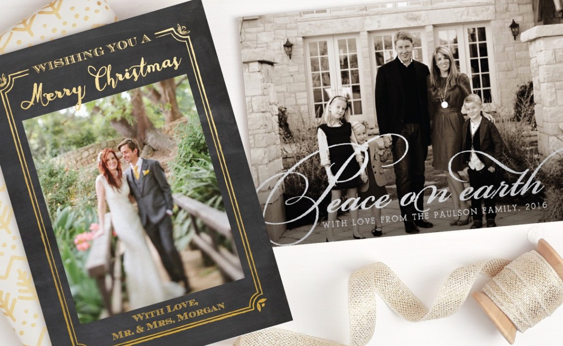 Order foil holiday cards online from Basic Invite.