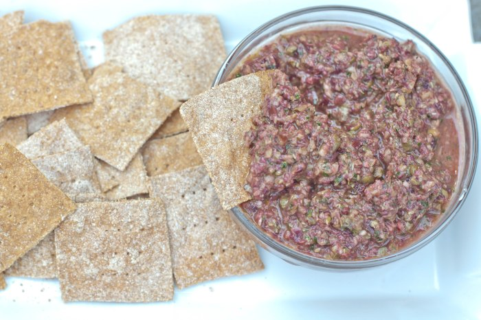 From Scratch Spelt Crackers and a Olive Tapenade