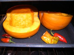 Turn over pumpkin so it is skin side up when baking for soup.