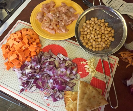 mise en place for chicken chili recipe from Blue Apron