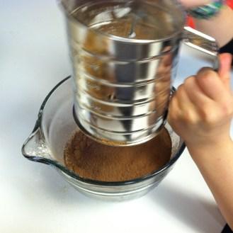 sift flour, baking soda, baking powder, cocoa & salt