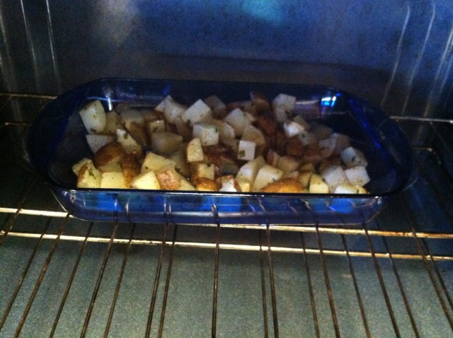 Coat the potatoes with the oil mixture and scoop into baking dish straining the excess oil. Bake in oven @475 for 45 minutes stirring every 15 minutes.