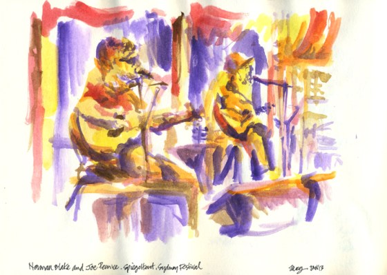 Norman Blake & Joe Pernice at the Spiegeltent, Festival of Sydney - watercolours