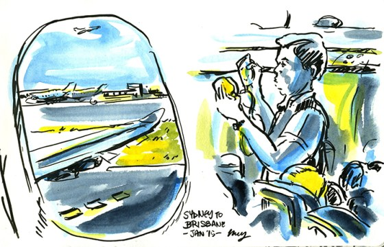 The safety demo on board our flight to Brisbane. Media - Japanese brush felt pen and watercolours.
