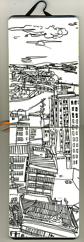View from our hotel on Roma St overlooking Southbank. Media - Japanese brush felt pen.