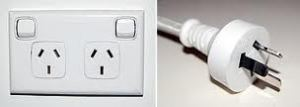 Australian power point - like a round hole for an American plug