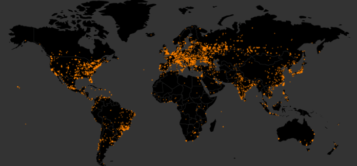 Orange dots illustrates the infection by WannaCry ransomware. Credits: malwaretech.com