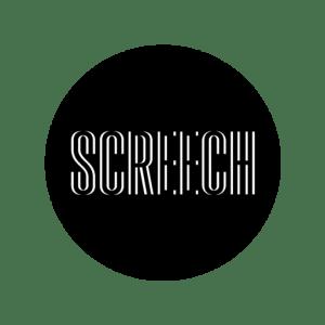 White Screech logo in a black circle