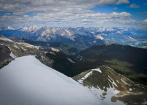 Looking north from the top of Pyramid Mountain toward Jasper Lake, Highway 16 and the route of the Athabasca River.