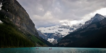 A stock Rockies shot of Lake Louise, seen after an evening low-oxygen sprint (after Hector) up Plain of Six Glaciers to the base of Mount Victoria at the back of the lake.