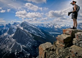 Standing on top of the east end of Mount Rundle, 2590m, two hours and fourteen minutes after departing downtown Canmore.