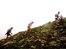 Picture from the Revelstoke Times Review of myself and the girl I ran with through most of the race, first-place female soloist Anne-Marie Madden. Here we are ascending through the mist and rain and about to top-out on the ridge section of the race. Photo by Alex Cooper, Revelstoke Times Review.
