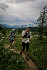 Getting faded, with Assiniboine and our previous 40km in the picture behind us.