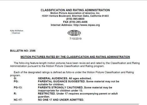 CARA/MPAA Film Ratings BULLETIN For 07/10/19; Official MPAA Ratings & Rating Reasons Announced For 'Angel Has Fallen', 'Vampires vs. The Bronx' & More 2