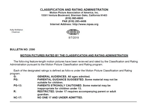 CARA/MPAA Film Ratings BULLETIN For 08/07/19; Official MPAA Ratings & Rating Reasons Announced For 'Jay And Silent Bob Reboot', 'A Hidden Life', 'Apocalypse Now Final Cut' & More 8