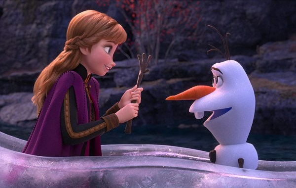 animation of woman and snowman in boat facing each other, frozen 2, disney