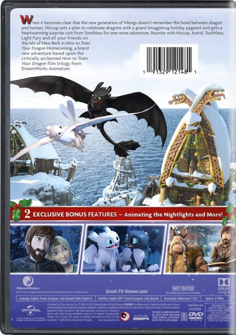How To Train Your Dragon Homecoming; DVD Artwork & Disc Specs; Arriving On DVD & Airing On NBC December 3; On Digital December 4, 2019 From Universal 5