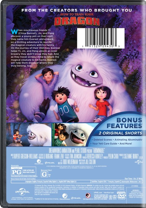 Abominable; The Animated Film Arrives On Digital December 3 & On 4K Ultra HD, Blu-ray & DVD December 17, 2019 From Universal 20