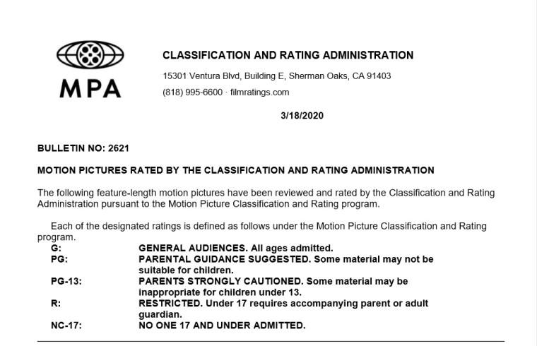 CARA/MPA Film Ratings BULLETIN For 03/18/20; Official MPA Ratings & Rating Reasons For 'Greyhound', 'Tesla', 'Arkansas' & More 6