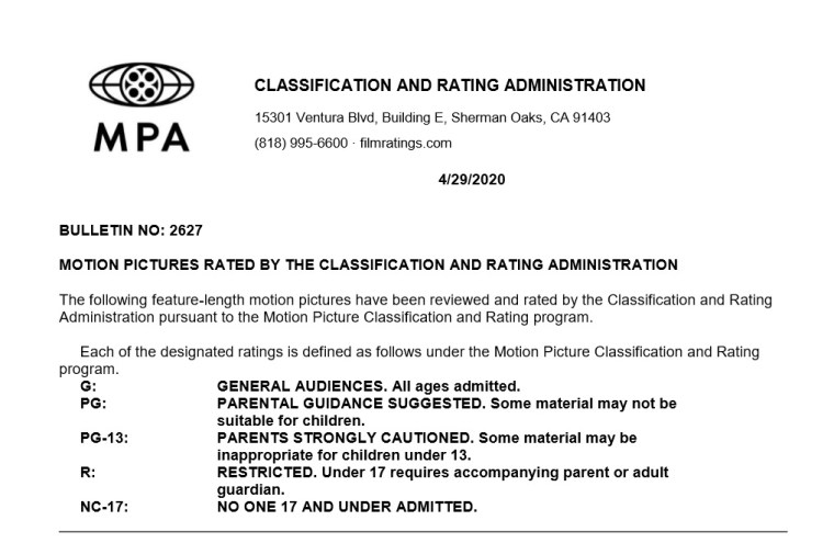 CARA/MPA Film Ratings BULLETIN For 04/29/20; MPA Ratings & Rating Reasons For 'The Father', 'Amulet' & More 7