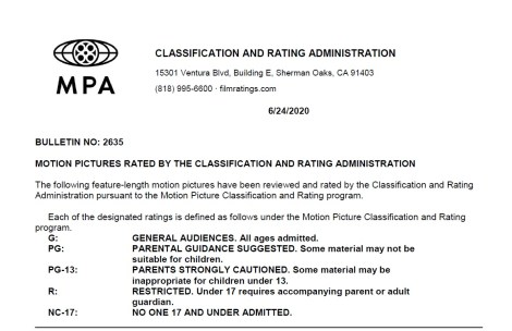 CARA/MPA Film Ratings BULLETIN For 06/24/20; MPA Ratings & Rating Reasons For 'Tenet', 'The Rental', 'Words On Bathroom Walls' & More 2