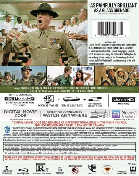 Full Metal Jacket; Stanley Kubrick's Vietnam War Classic Arrives On 4K Ultra HD September 22, 2020 From Warner Bros 4