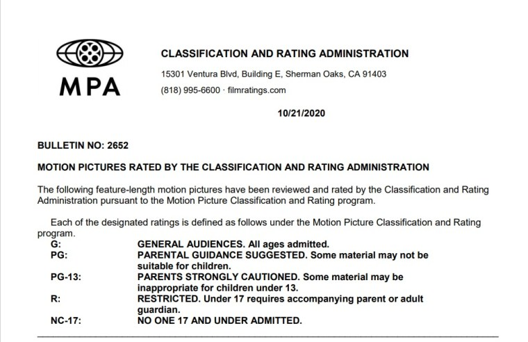 CARA/MPA Film Ratings BULLETIN For 10/21/20; MPA Ratings & Rating Reasons For 'Tom And Jerry', 'Rifkin's Festival', 'Children Of The Corn' & More 8