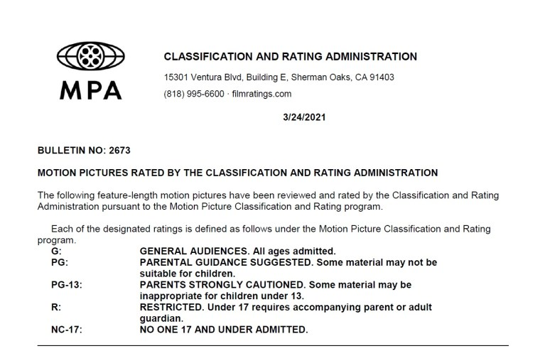 CARA/MPA Film Ratings BULLETIN For 03/24/21; MPA Ratings & Rating Reasons For 'Sing 2', 'The House Next Door' & More 8