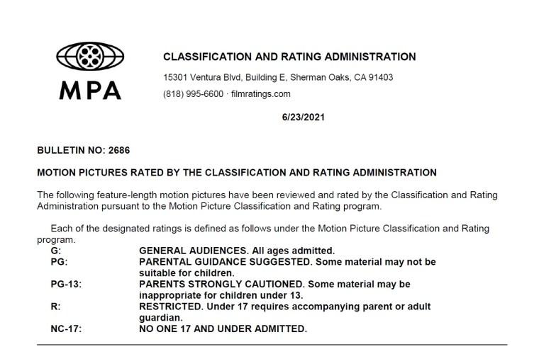 CARA/MPA Film Ratings BULLETIN For 06/23/21; MPA Ratings & Rating Reasons For 'Fear Street Part 3: 1666', Dual' & More 7